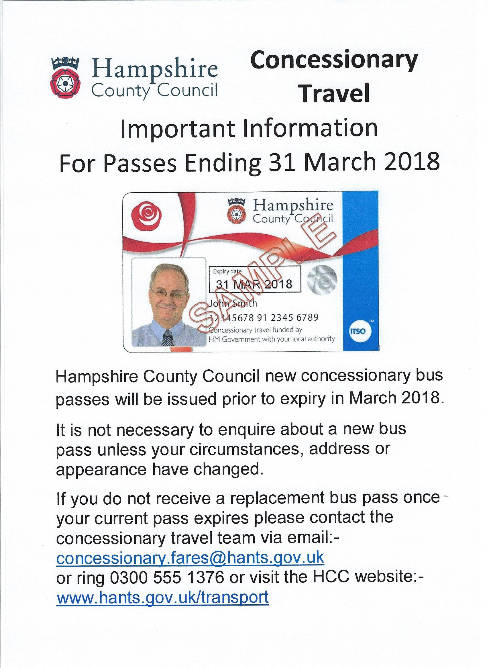HCC Bus Pass Renewal 31 03 2018